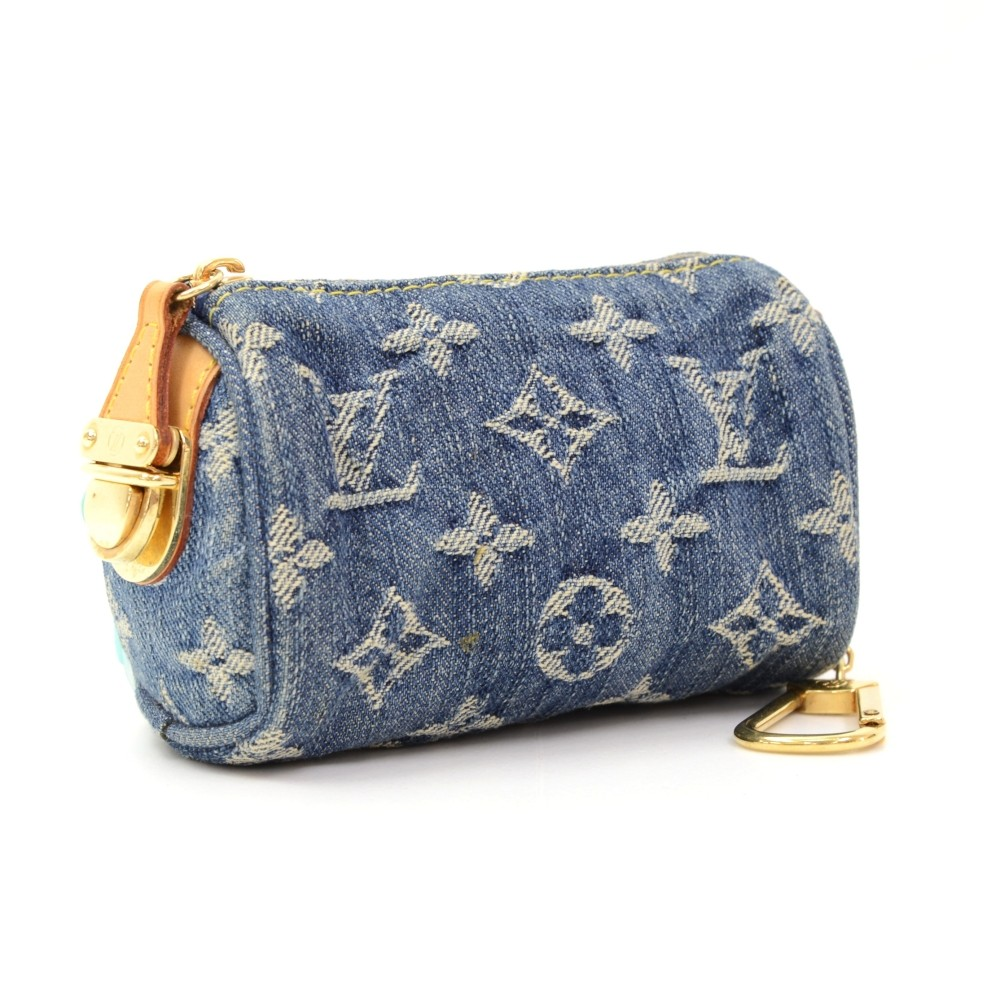 5b2c71f27 Louis Vuitton Mini BB Speedy Monogram Denim Coin Pouch Cles Key Chain /  Holder