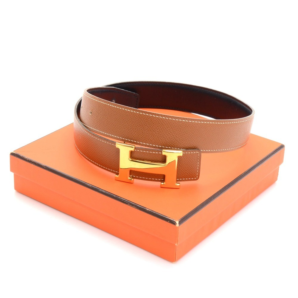 hermes brown leather x silver brushed tone h buckle belt size 95
