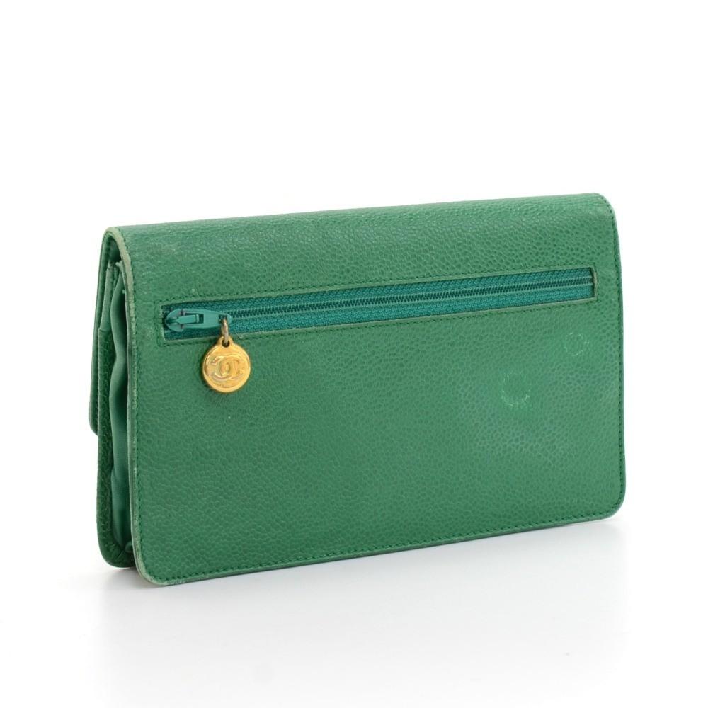 2ca06e0af838 Chanel Vintage Chanel Green Caviar Leather Flap Wallet