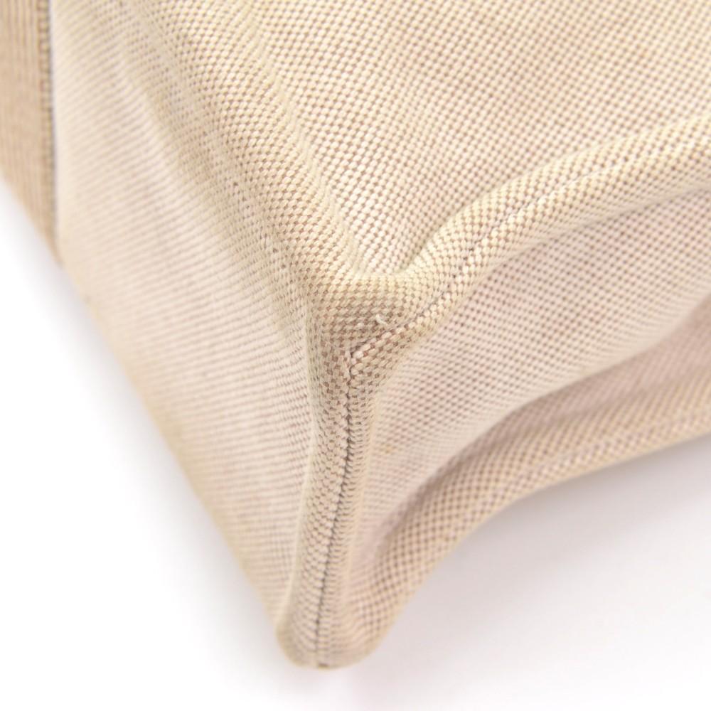 hermes ahmedabad pm dark brown cotton tote hand bag.