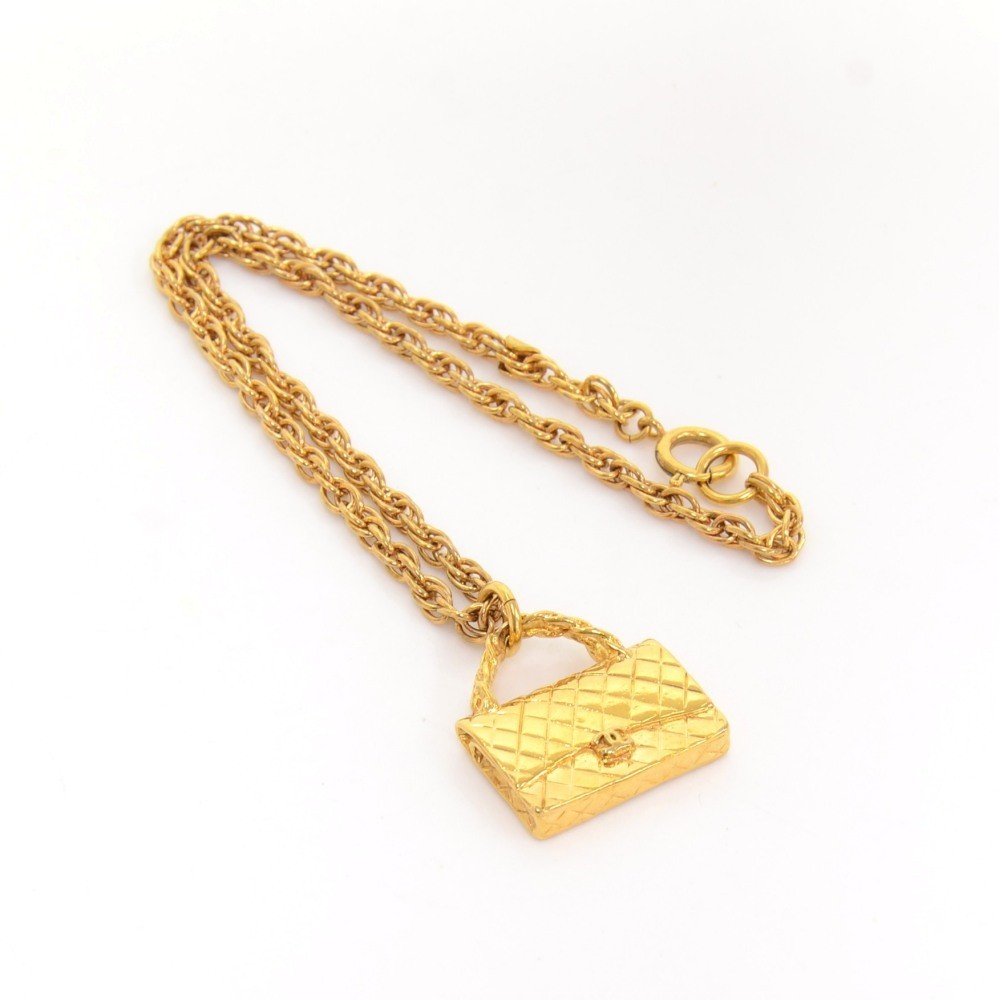 e81691b79d6fea Chanel Vintage Chanel 2.55 Bag Motif Pendant Top Chain Necklace CC