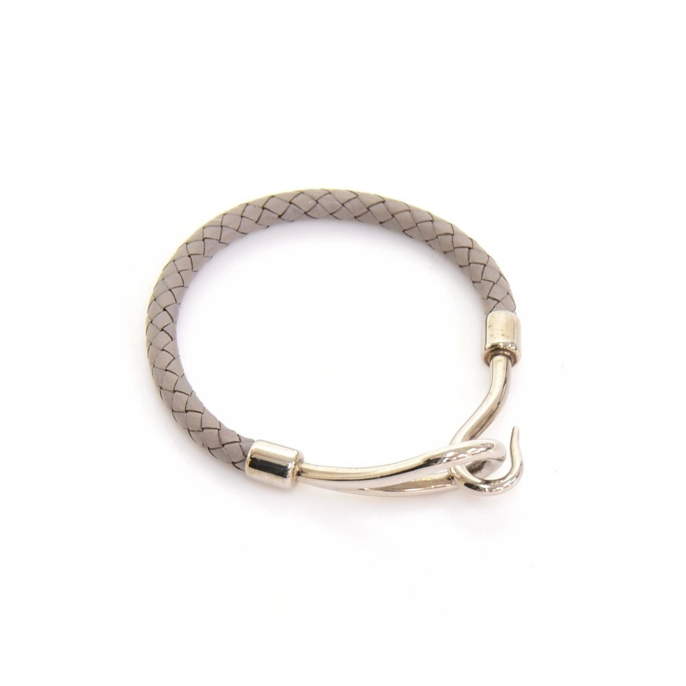discount hermes bag - Hermes Hermes Gray Leather x Silver Tone Hook Jumbo Bracelet