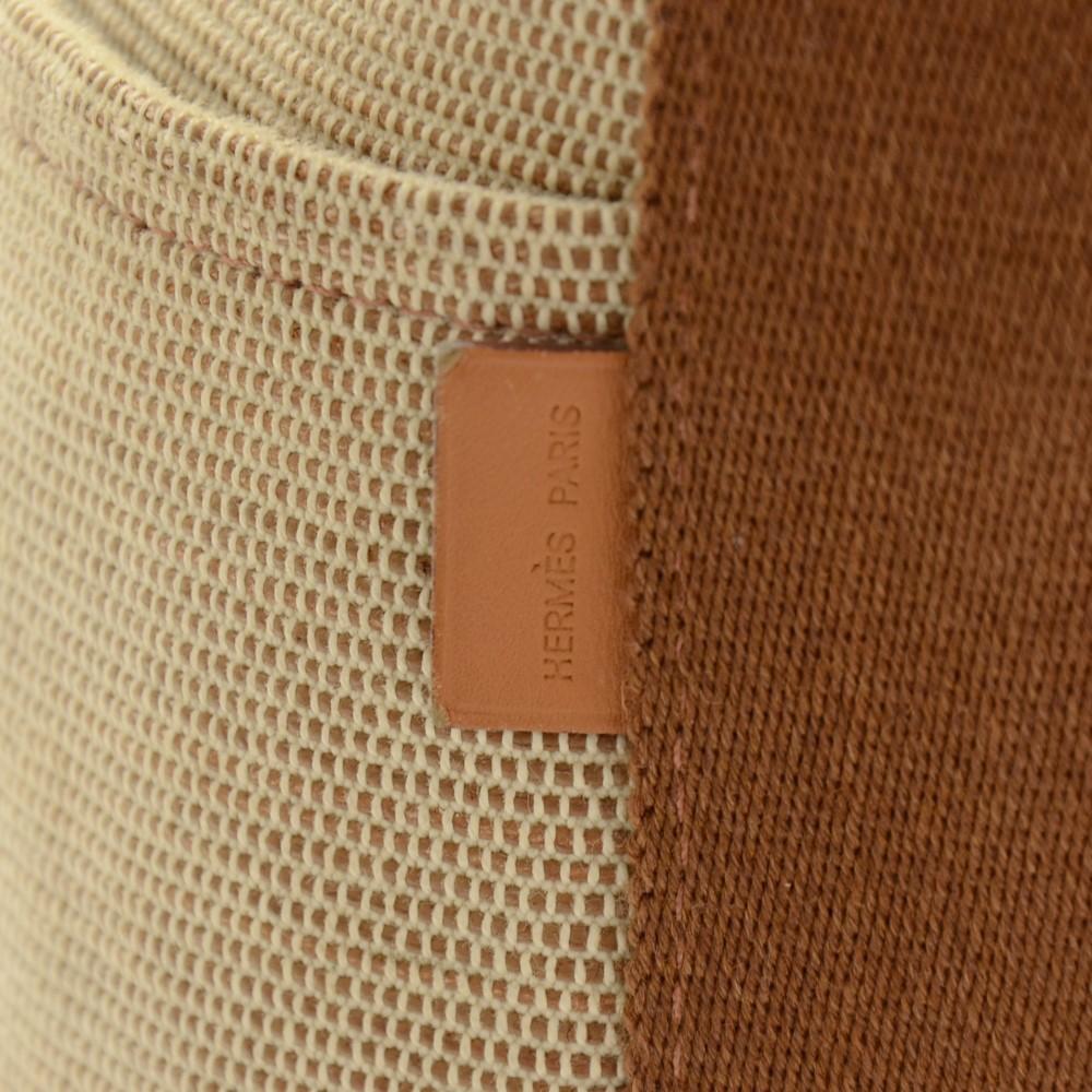Hermes Hermes Saxo MM Beige x Brown Canvas Tote Hand Bag