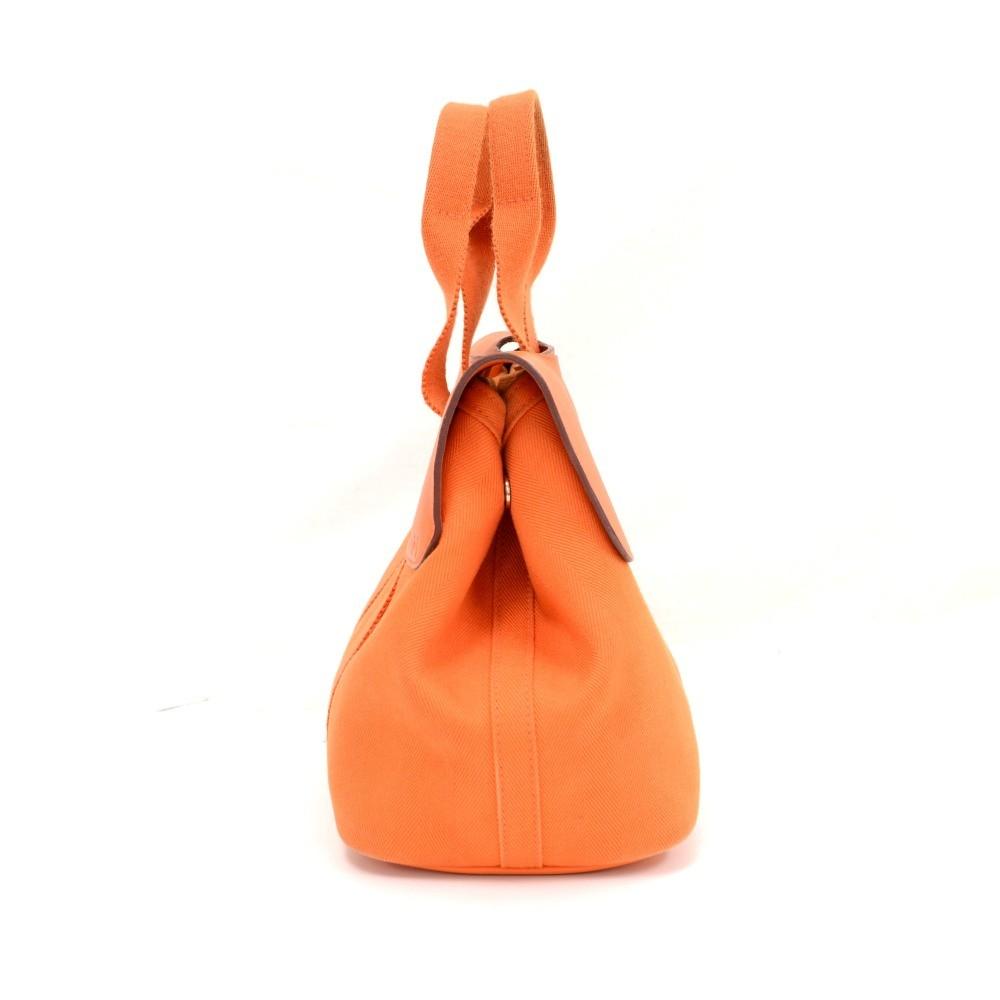 42575c2c3dbc Hermes Hermes Valparaiso PM Orange Leather Canvas Tote Hand Bag