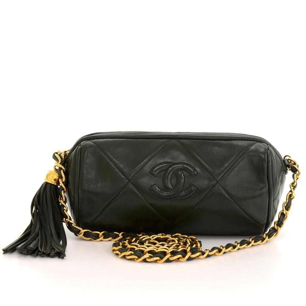 dfe7431c2c4d Chanel Vintage Chanel Dark Green Quilted Leather Fringe Mini Pouch ...