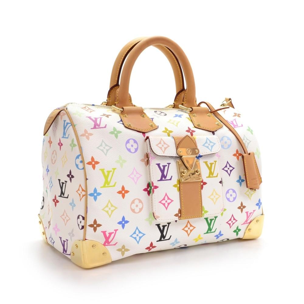 48e9bb4861af Louis Vuitton Speedy 30 White Multicolor Monogram Canvas City Hand Bag