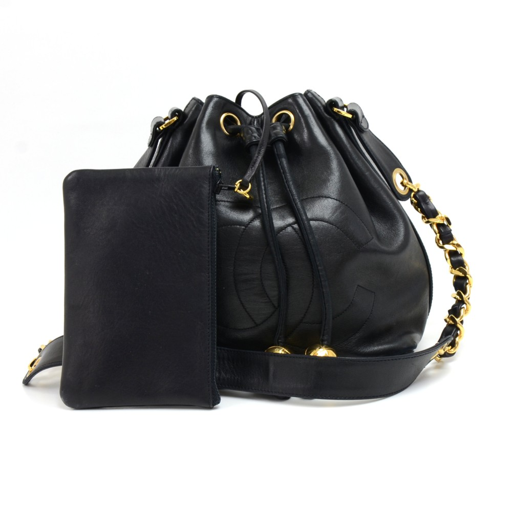 72f7e34ae8280d Chanel Vintage Chanel Black Lambskin Drawstring Bucket Bag + pouch
