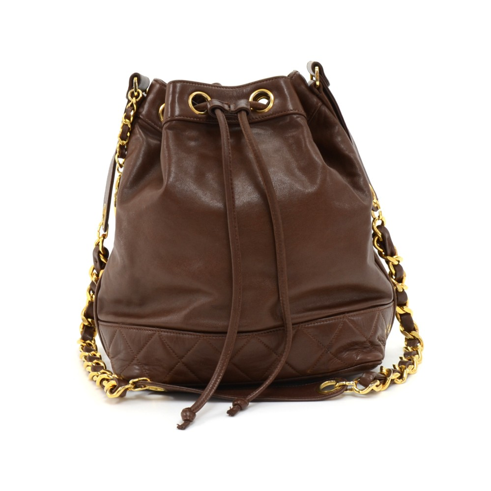 5e7ee571868 Chanel Vintage Chanel Brown Lambskin Leather Drawstring Bucket Bag + ...