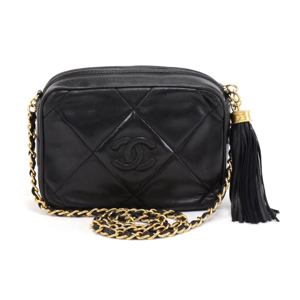 03b90be86ad1 Vintage Chanel Black Quilted Lambskin Leather Tassel Pochette Shoulder Bag