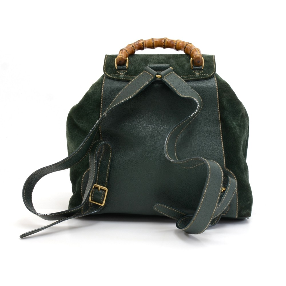 2c19b15e0ec57f Gucci Vintage Gucci Green Suede Leather Bamboo Backpack