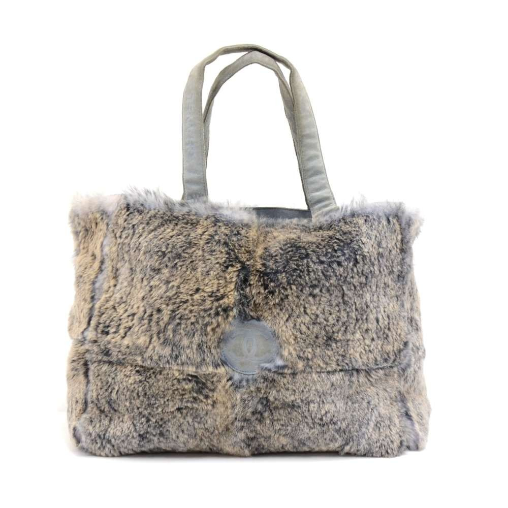 f26f7ef89505 Chanel Vintage Chanel Gray Lapin Fur x Suede Leather Hand Tote Bag