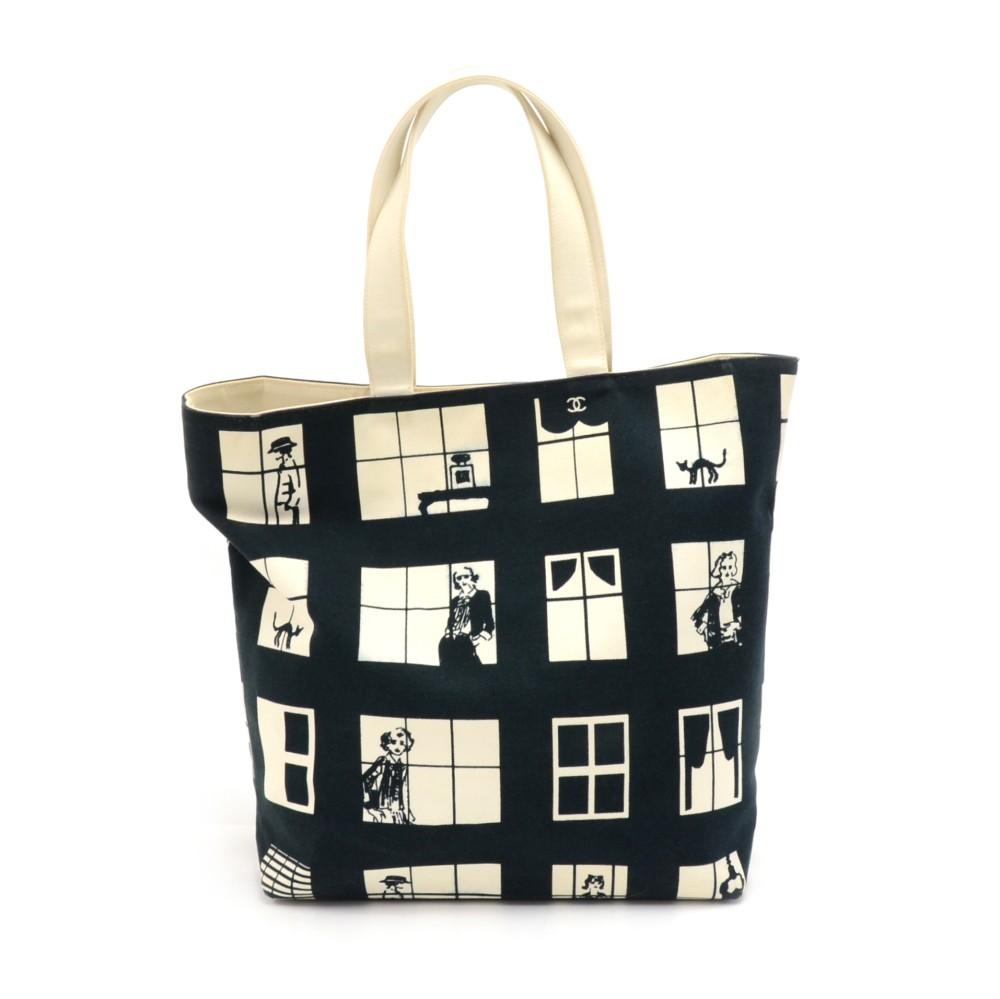cec73f4d676a Chanel Chanel Coco Window Black & White Canvas Tote Bag