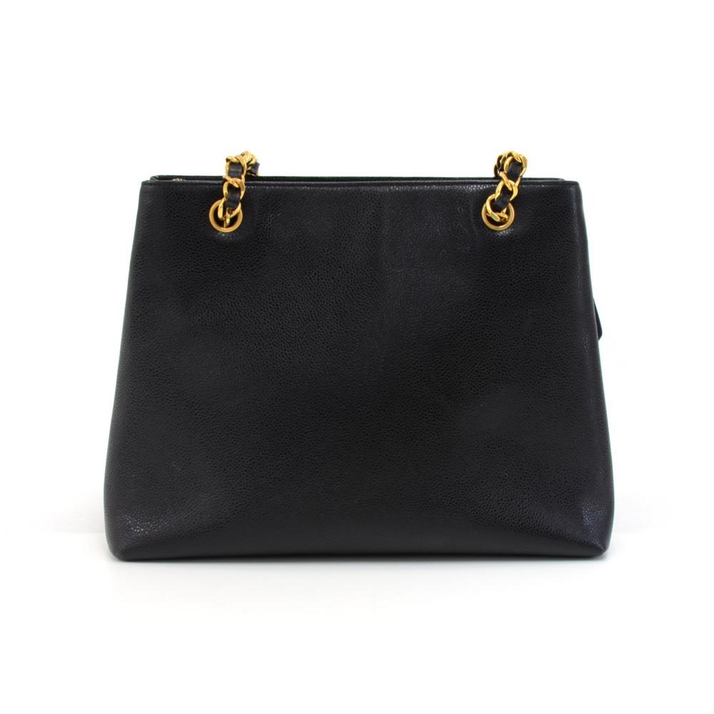 Vintage Chanel Black Caviar Leather Front Envelope Pocket Chain Shoulder Bag b0049eb2dc468