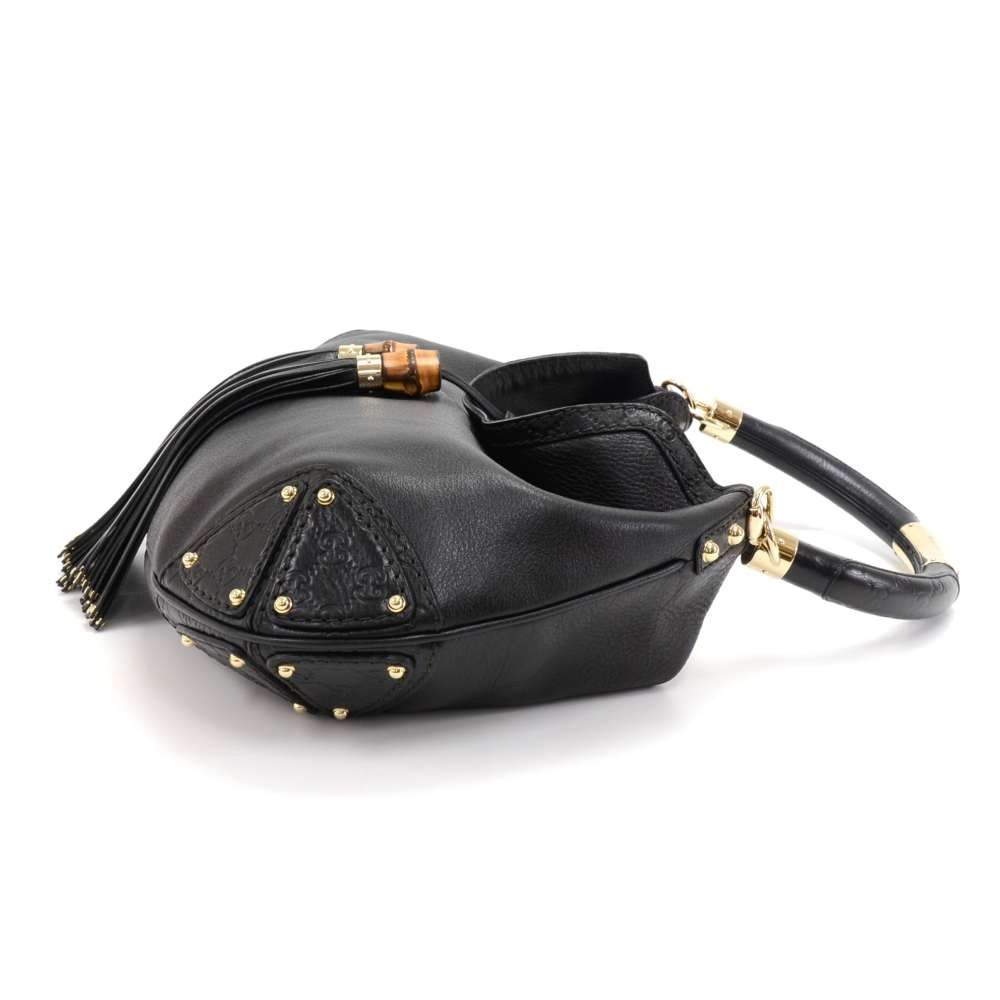 5adea26c7745d4 Gucci Gucci Babouska Indy Black Leather Bamboo Tassel Large Hobo Bag