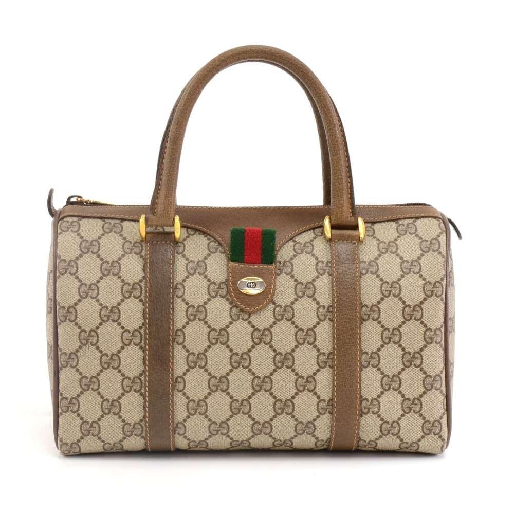 58333fa1e Vintage Gucci Accessory Collection GG Supreme Canvas & Brown Leather Mini  Boston Bag