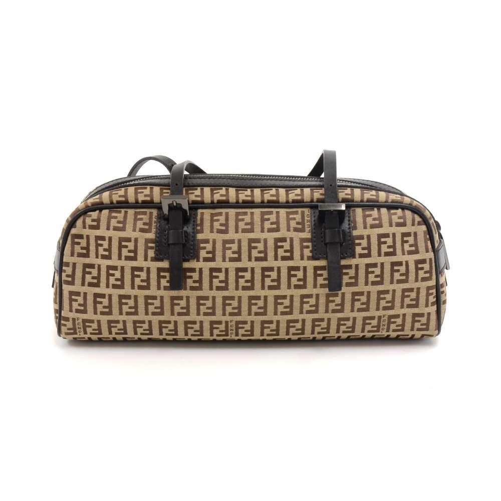 e79ae3b21a Fendi Beige Zucca Monogram Nylon and Brown Leather Bauletto Mini Boston Bag