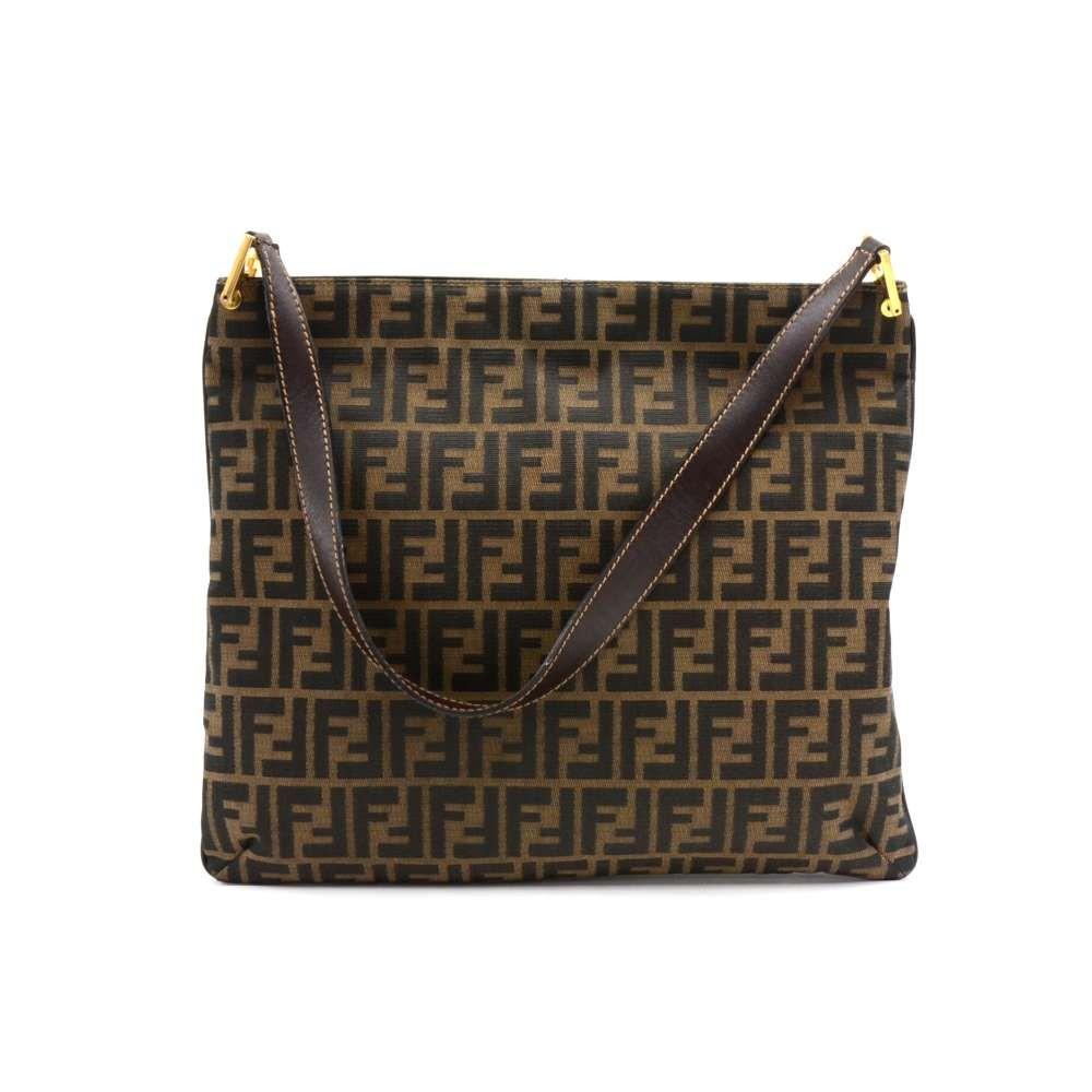 b405898b02cb Vintage Fendi Tobacco Zucca Monogram   Brown Leather Flat Shoulder Bag