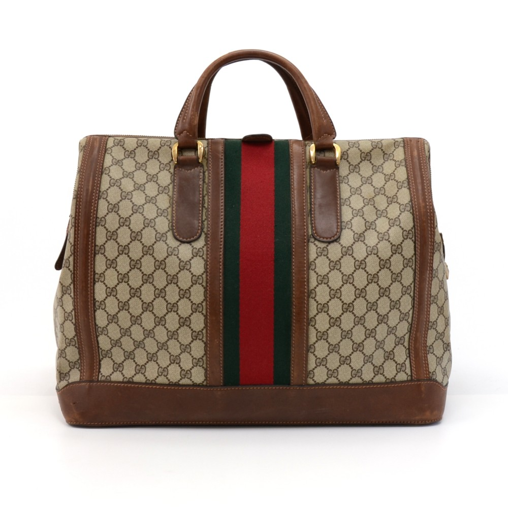 2b16059d56bf Vintage Gucci Boutique Beige GG Supreme Coated Canvas & Leather Large  Boston Travel Bag