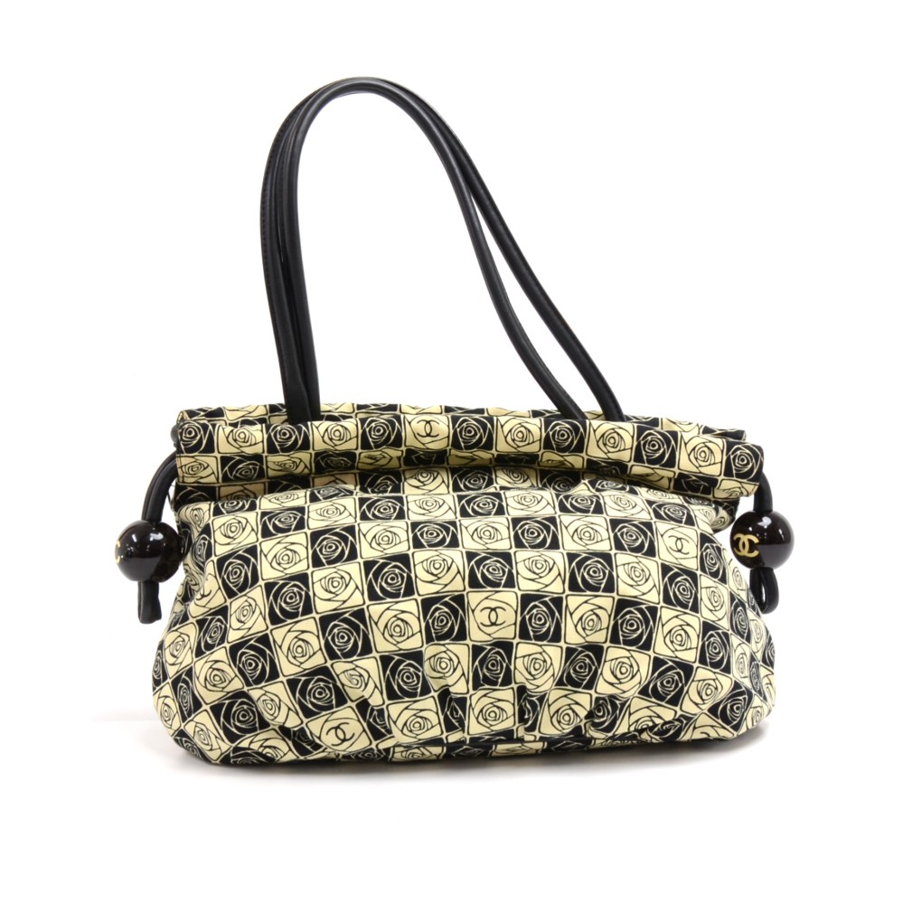 ef9b10460ae Chanel Chanel Beige   Black Canvas Camellia Check Pattern Shoulder ...