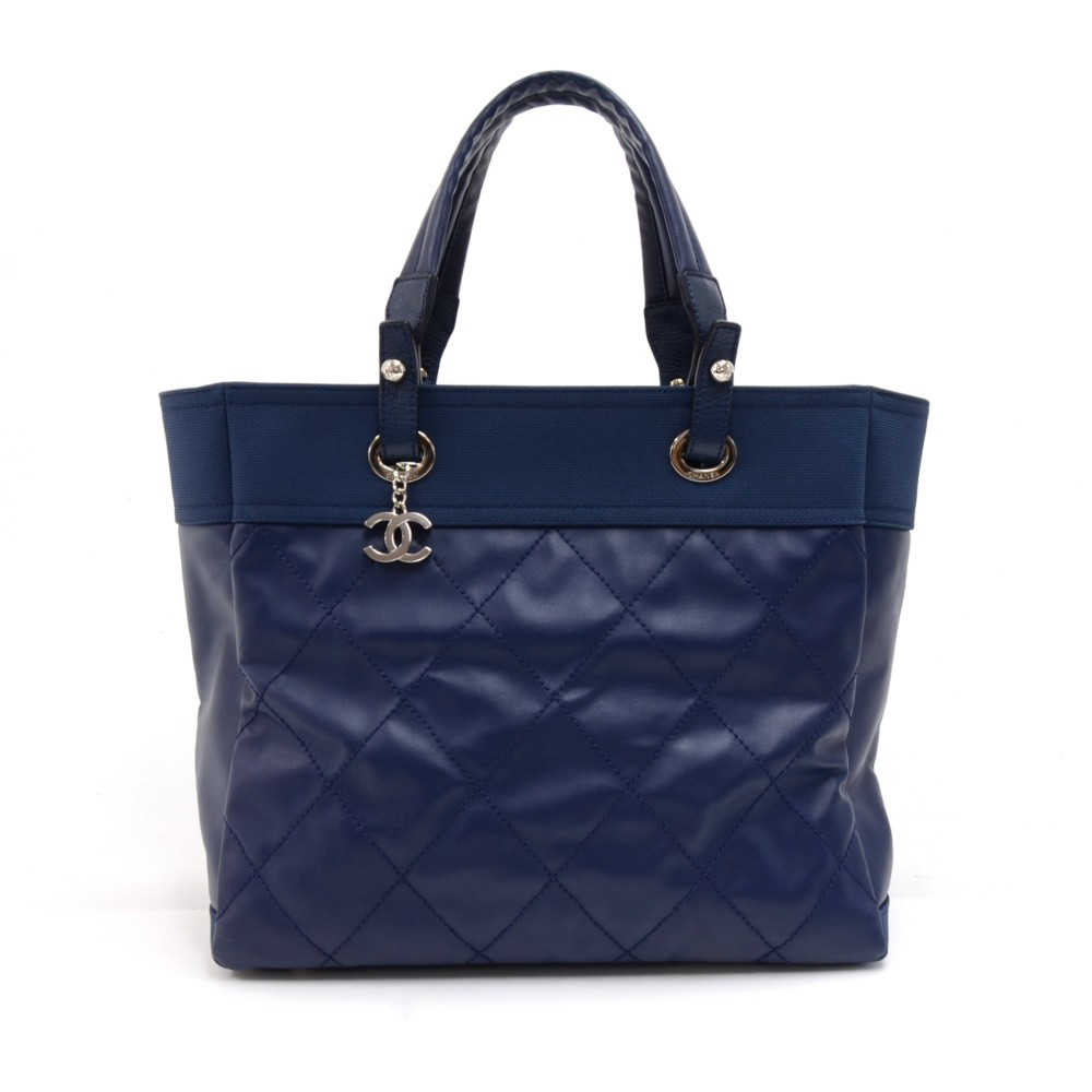 42934070221bd7 Chanel Paris Biarritz MM Blue Coated Canvas x Leather Tote Bag - Rare