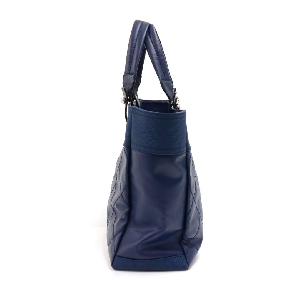 1e44448dc62 Chanel Chanel Paris Biarritz MM Blue Coated Canvas x Leather Tote Bag .