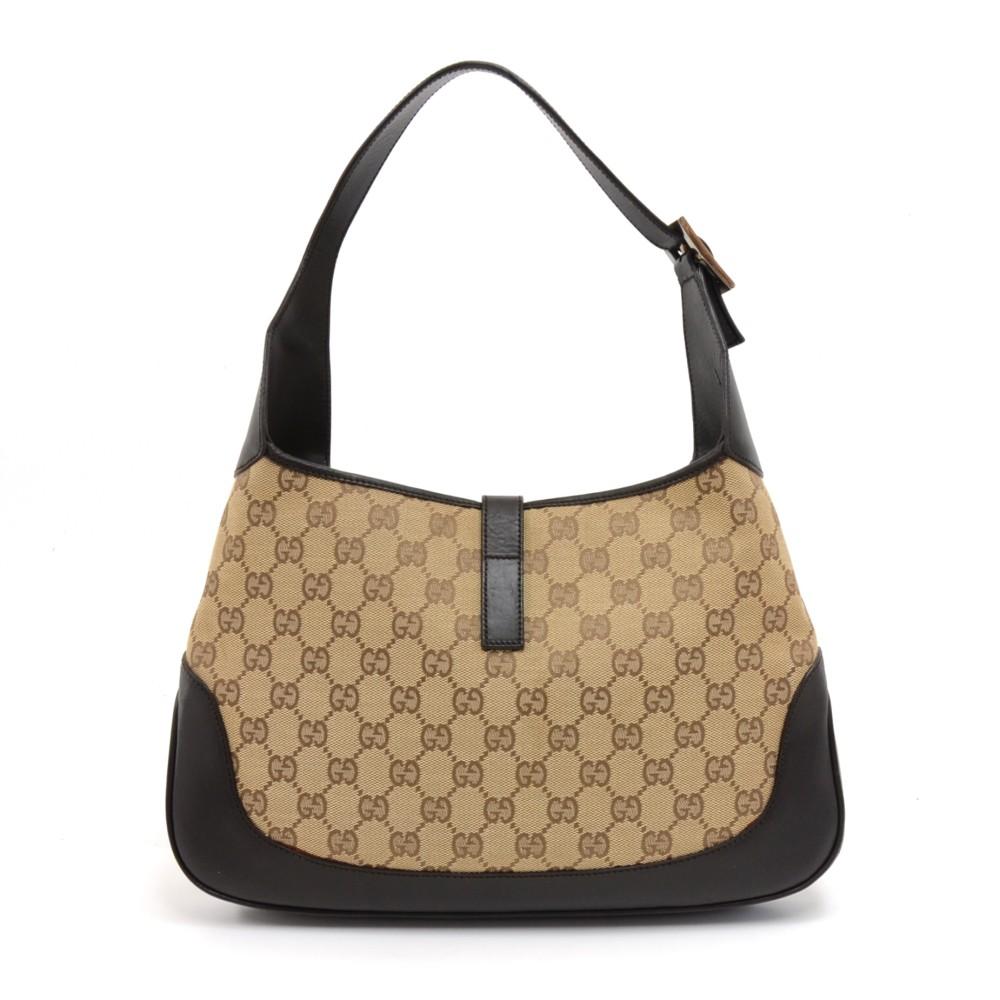 b504f0200 Gucci Gucci Jackie Original GG Canvas & Brown Leather Shoulder Bag