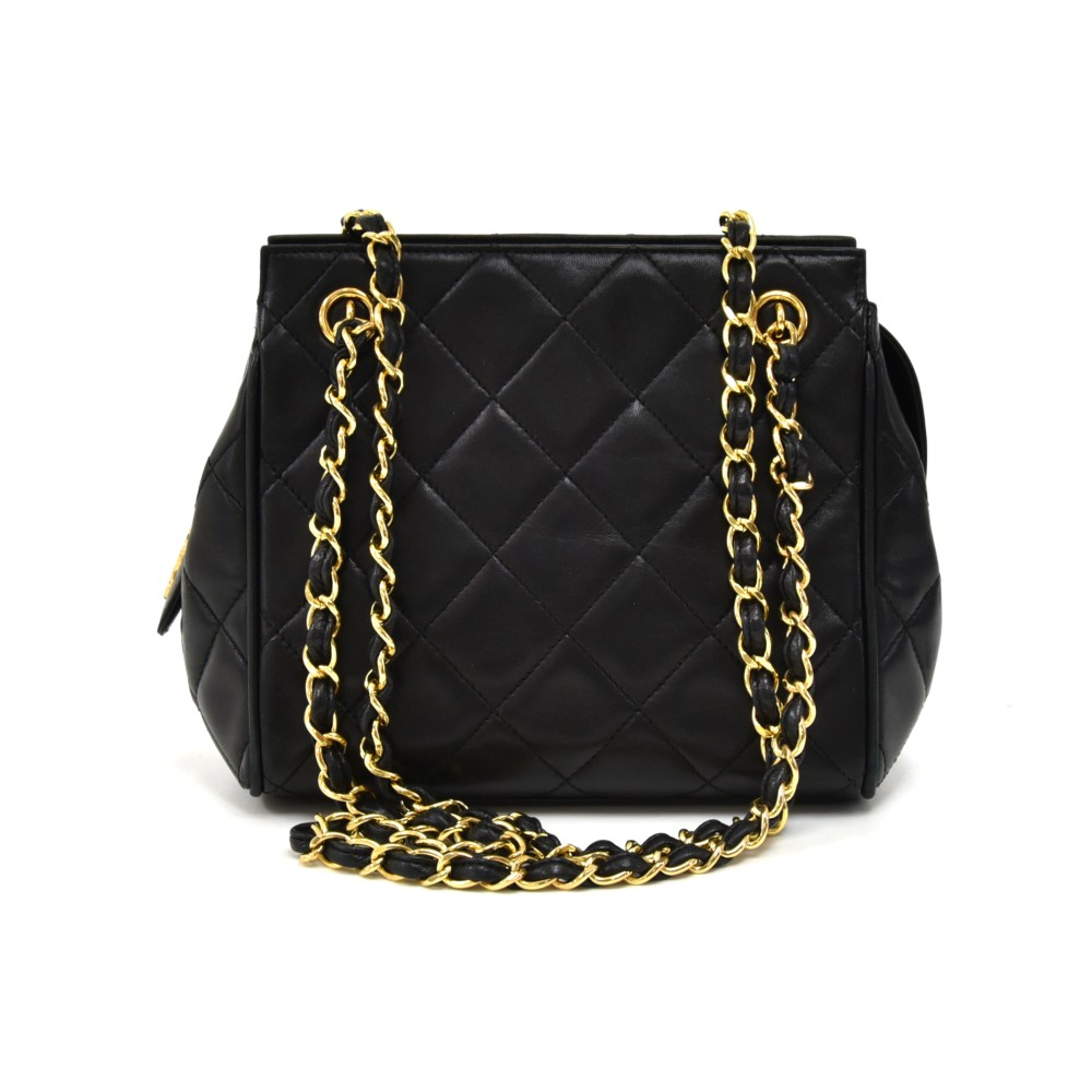 72fa8ac62db9 Vintage Chanel Mini Black Quilted Lambskin Leather Chain Shoulder Bag