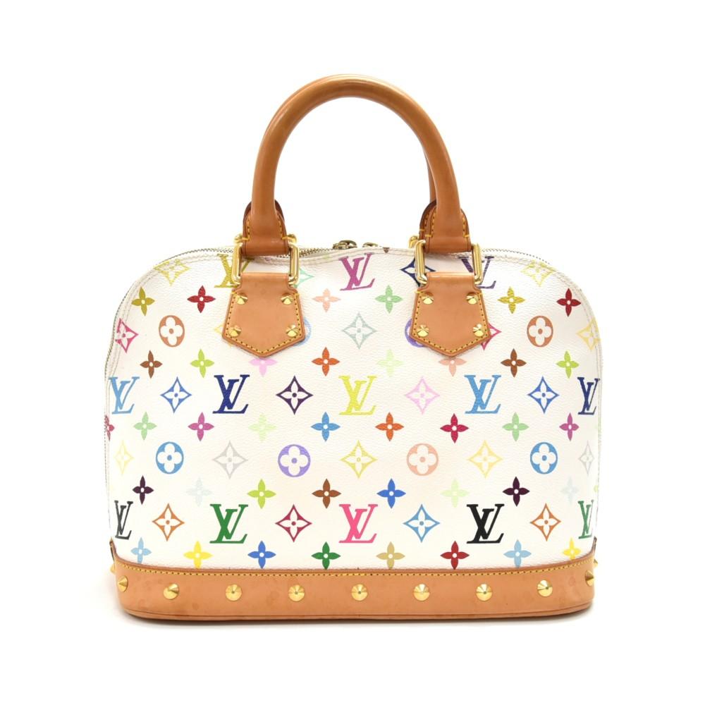 Louis Vuitton Alma White Multicolor Monogram Canvas Handbag