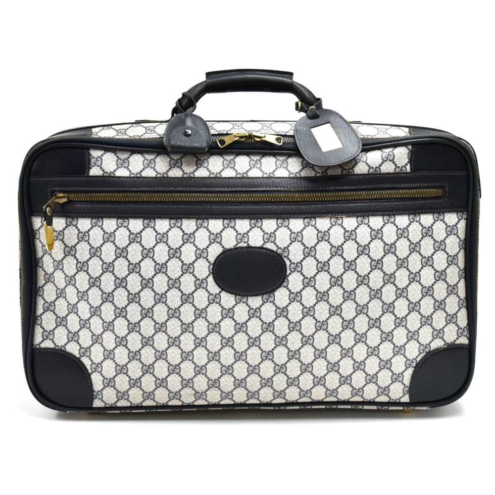 2824846c5 Gucci Vintage Gucci GG Navy Coated Canvas Hard Travel Trunk Suitcase