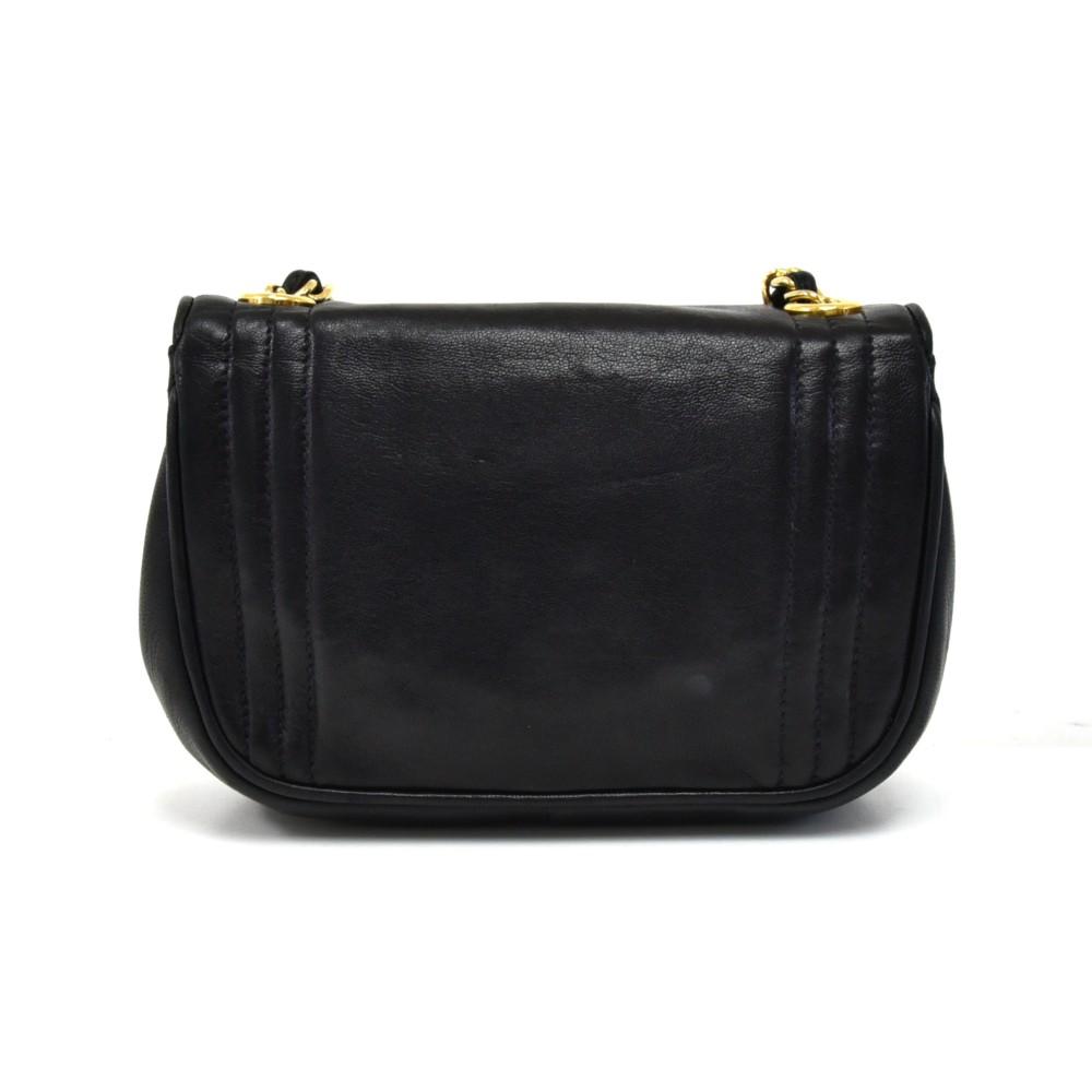 335e6009f474 Chanel Vintage Chanel Black Lambskin Leather Mini CC Logo Flap Bag