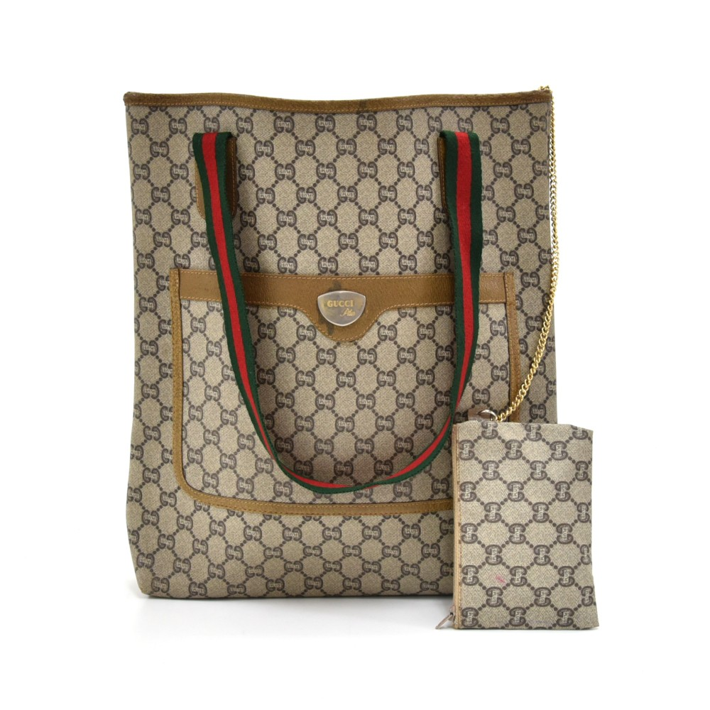 688313225d49 Vintage Gucci Plus Beige GG Plus Coated Canvas Shoulder Tote Bag -Limited