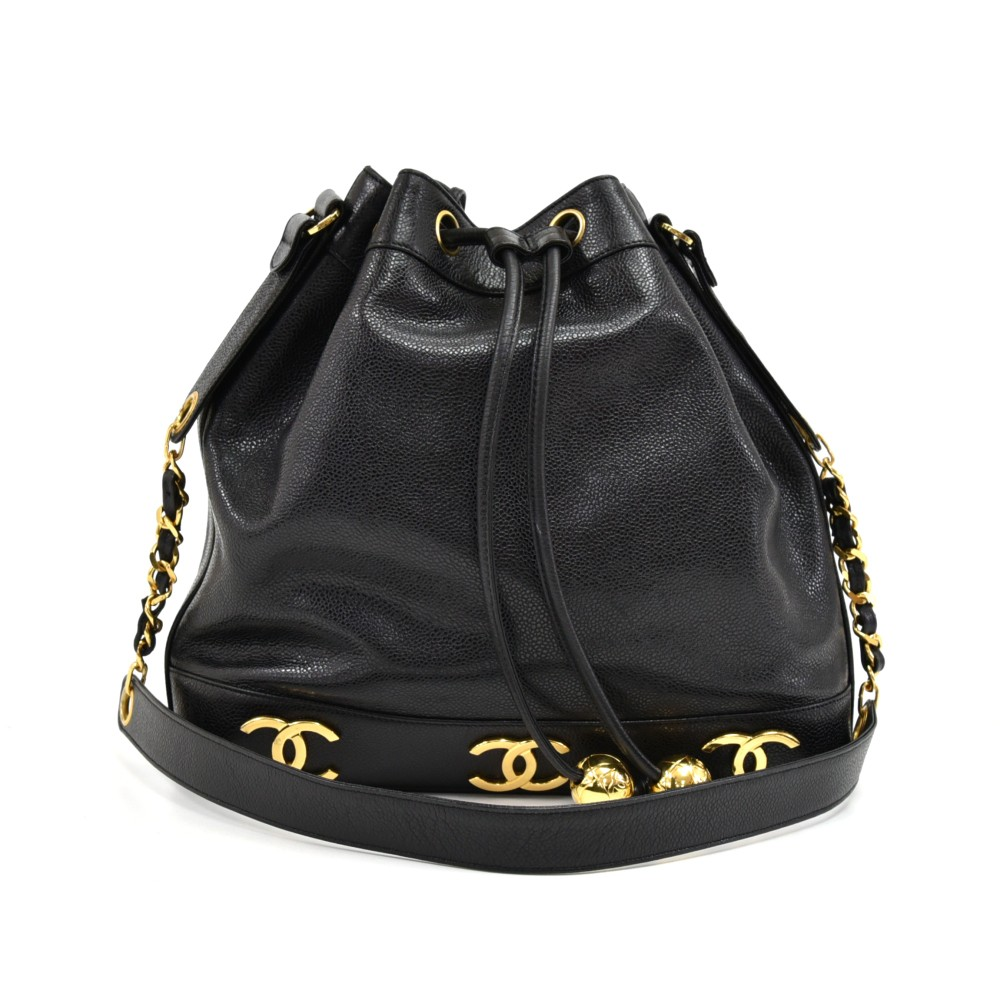 a92492edfe0aac Chanel Chanel Black Caviar Leather Shoulder Bucket Bag + Pouch