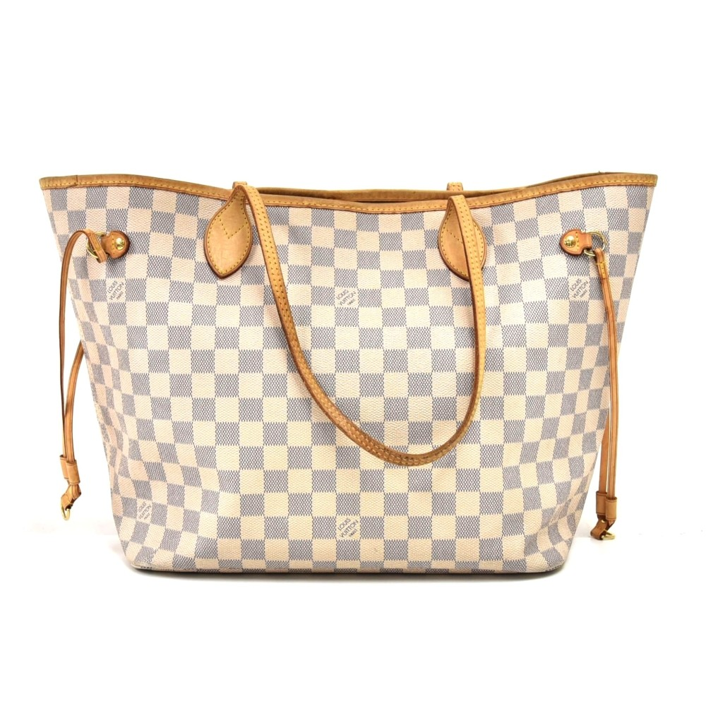 wide range wholesale online new arrive Louis Vuitton Louis Vuitton Neverfull MM White Damier Azur Canvas ...