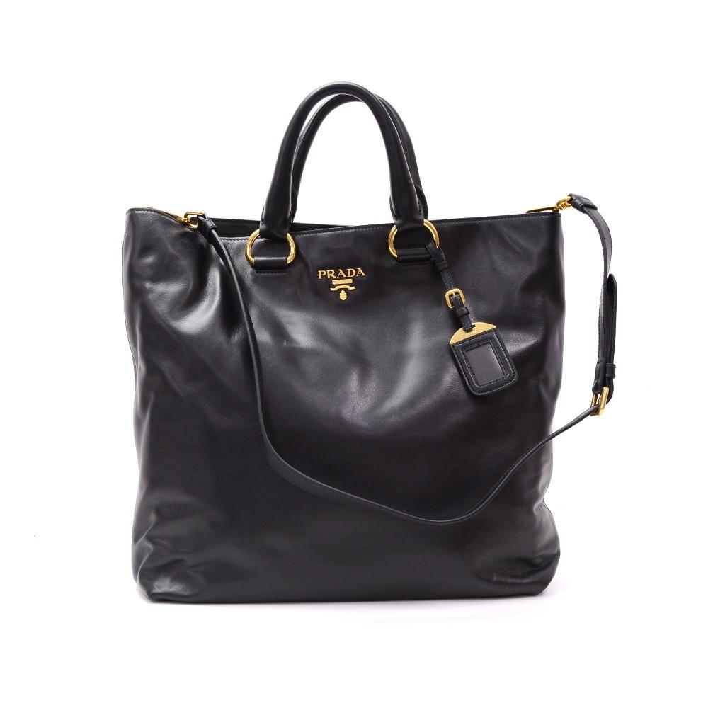 2beb89ecb7ec Prada Prada BN1713 Black Soft Calf Leather 2way Hand Bag + Shoulder ...