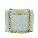 Chanel 11inch Light Blue Quilted Leather Medium Shoulder Tote Bag