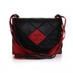 Vintage Chanel Black x Red Quilted Leather Shoulder Flap Bag