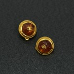 Vintage Chanel Amber and Gold-tone CC Logo Round Earrings