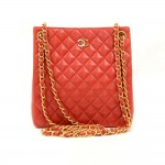 Chanel Paris Limited Red Quilted Leather Small Shoulder Tote Bag