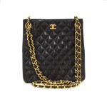 Vintage Chanel Black Quilted Leather Small Tote Bag