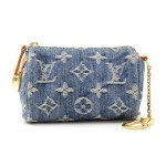 Louis Vuitton Mini BB Speedy Monogram Denim Coin Pouch Cles Key Chain / Holder