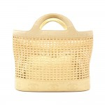 Chanel Beige Leather x Straw Basket Tote Bag CC