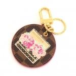 Louis Vuitton Illustre Pink Posies Ebene Damier Gold Tone Key Chain / Holder