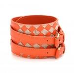 Bottega Veneta Orange Leather Thick Bracelet