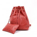 Vintage Chanel Red Caviar Leather Bucket Shoulder Bag