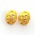 Vintage Chanel Gold Tone CC Logo Oval Shaped Earrings