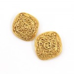 Vintage Chanel Gold Tone Large Earrings