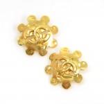 Chanel Gold Tone CC Logo Flower Motif Earrings