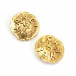 Vintage Chanel Gold Tone Round Earrings