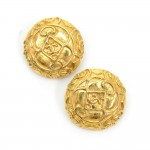 Chanel Gold Tone CC Logo Round Earrings