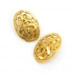 Chanel Gold Tone CC Logo Oval Shaped Earrings